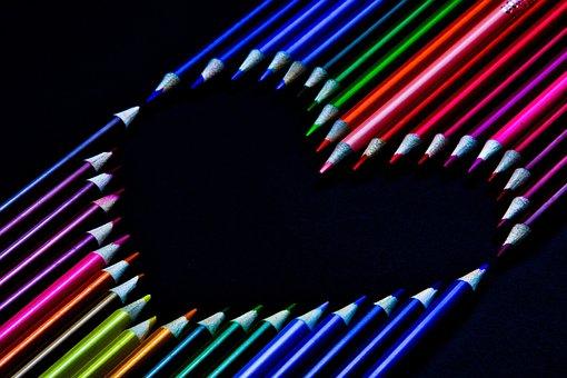 Colored Pencils, Colorful, Heart, Love