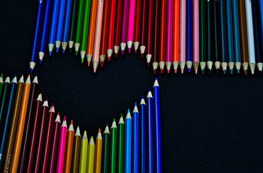 Kleurpotloden, Kleurrijke, Hart