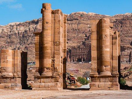 佩特拉, 约旦, 世界遗产, 柱状, 废墟, 假期, 旅行, 旅游, 历史