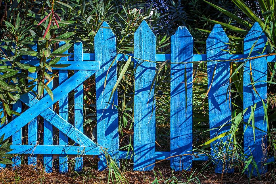 Ogrodzenie, Drewniany Płot, Niebieski, Spiczasty
