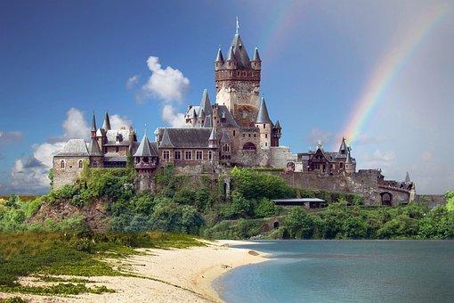 景观, 城堡, 幻想, 海, 天空, 云, 彩虹