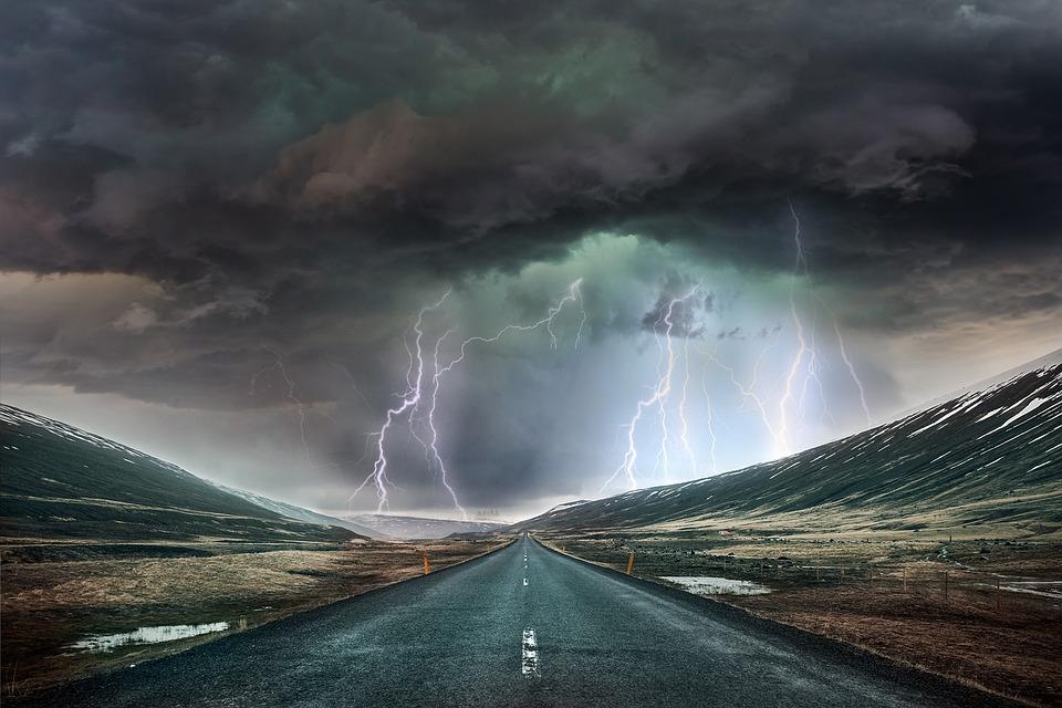 Panorama, Tempesta, Raggi, Nuvole, Sky, Clima, Strada