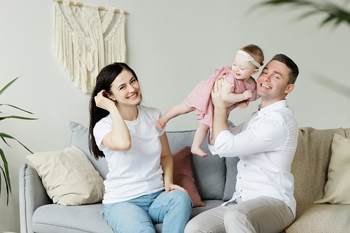 家族, 赤ちゃん, ママ, 可愛い人, 人々, 若い, 愛, 女の子, 幸福