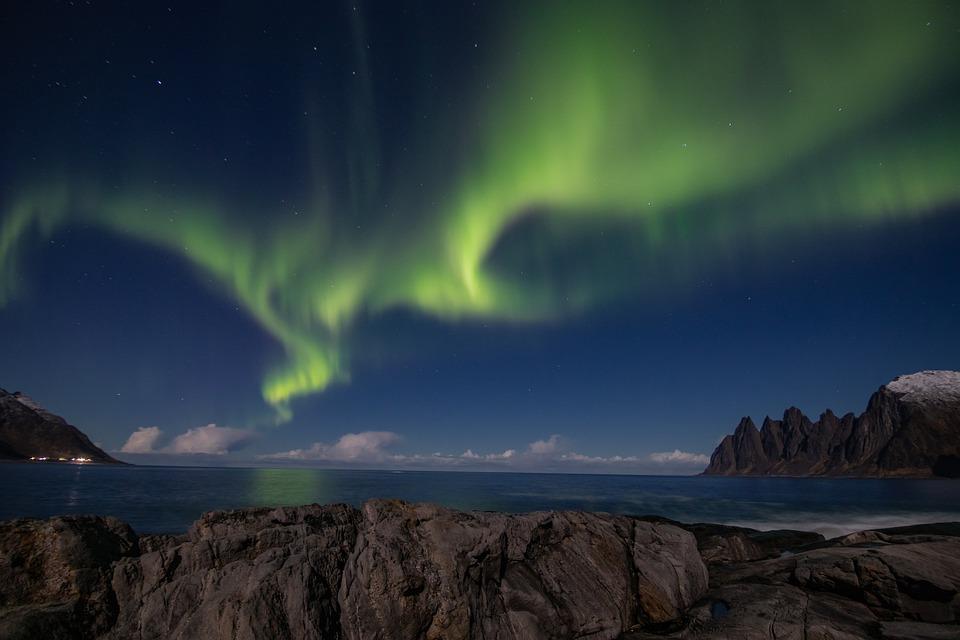 Aurora Boreale, Aurora, Verde, Norvegia, Stelle