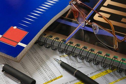 Glasses, Pen, Books, Paper, Document