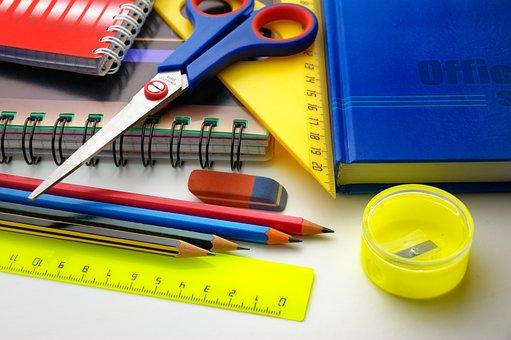 Pencils, Ruler, Scissors, Notebook