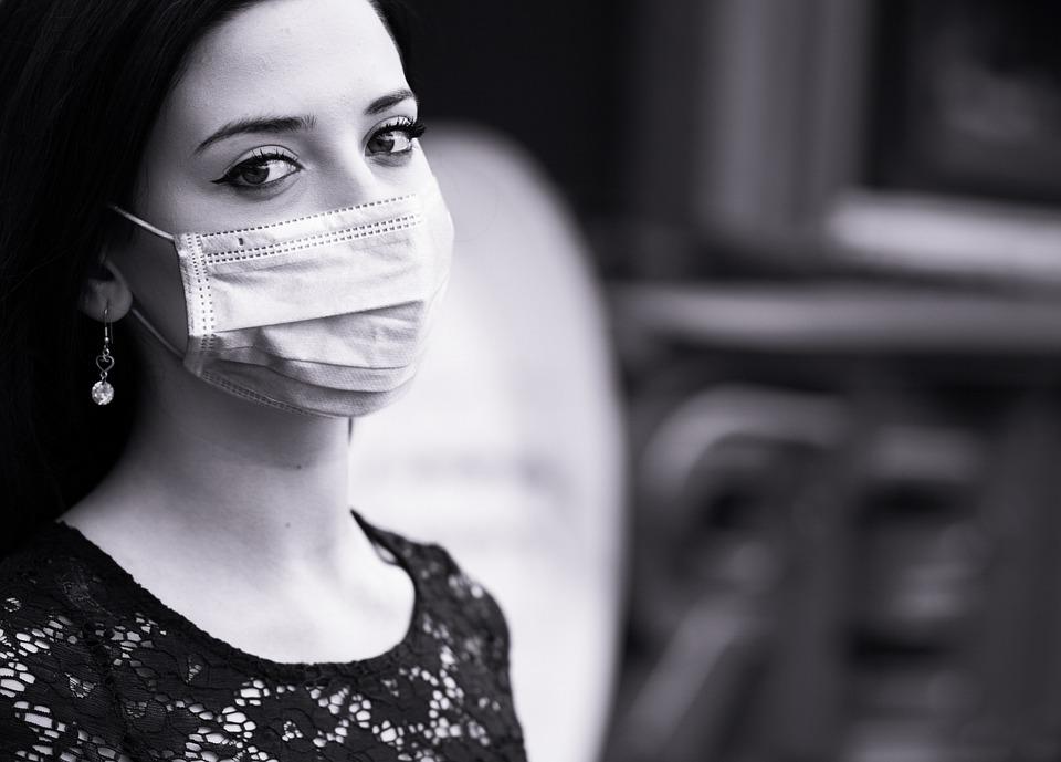 ウイルス, 保護, Coronavirus, 女性, 顔, マスク, 口, 呼吸, パンデミック