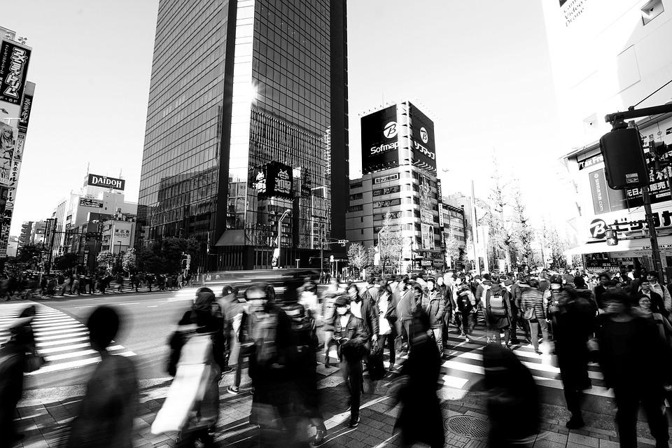 東京, 秋葉原, 交差点, 雑踏, 電気街, モノクロ, Tokyo, Akihabara