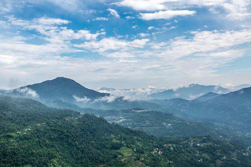 Majestic mountain view of Darjeeling, a hill station in North India