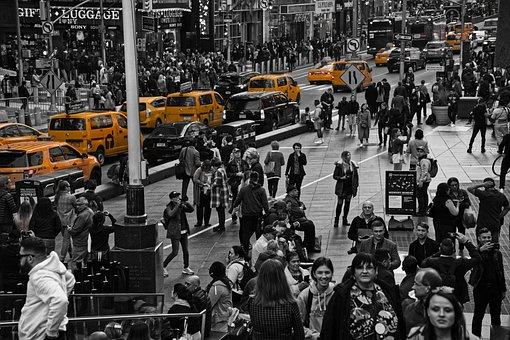 都市, 人々, 市, 輸送, タクシー, 群衆, トラフィック, 黄色
