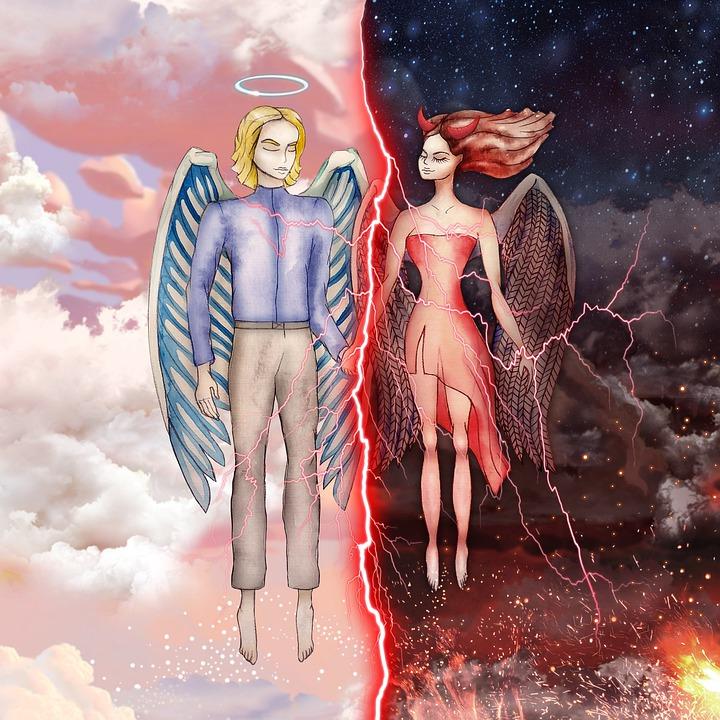 Anioł, Demon, Miłość, Witamy, Zło, Zły, Dobry, Para