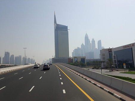 Road, Dubai, Uae, City, Skyscraper