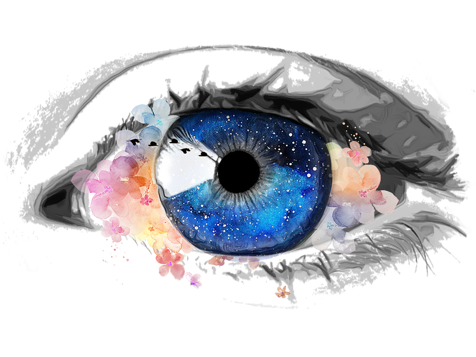 Eye, Creative, Galaxy, Collage, Flowers, Paint