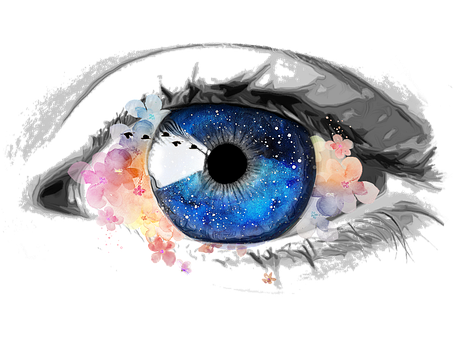 Eye, Creative, Galaxy, Collage, Flowers
