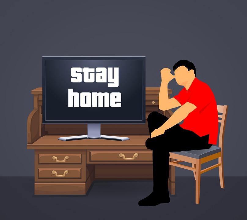 숙박 홈, 집, 코로나, 바이러스, Covid-19, 금, 가정에서 일, 리, 거리, 홈, 전염병