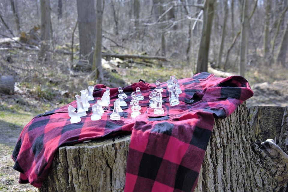 Chess, Board, Flannel, Plaid, Shirt, Red, Black, Glass