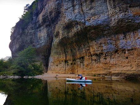 Hérault, Canoeing, Rocks, River, Canyon