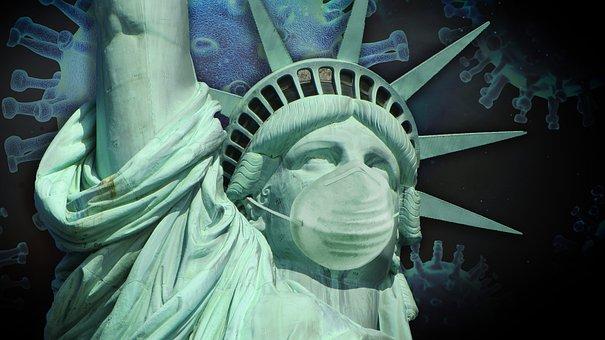 ウイルス, アメリカ, 自由の女神像, コロナ, パンデミック, 流行, 病気