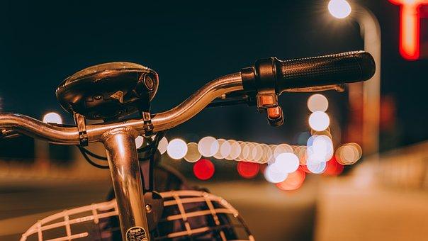 自転車, 泊, ボケ, 道路, 通り, 夜, クローズアップ