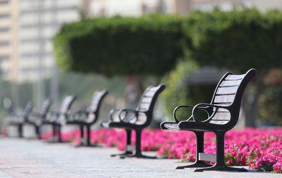ベンチ, 座席, 社会, 距離, 公園, 座る, 空