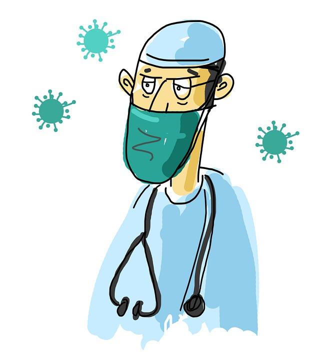 Cartoon Arzt, Covid Arzt, Hygiene, Maske, Coronavirus