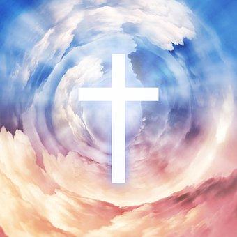 イエス, キリスト, 神様, 神聖な, 精神, 聖書, クロス, 福音, 雲