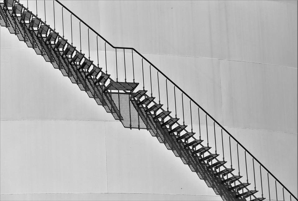 アーキテクチャ, 階段, 外部階段, 手すり, 鋼, 金属, 回折格子, 鋼製タンク, ガソリンの貯蔵