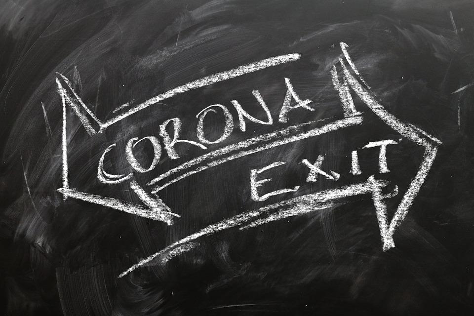 コロナ, Covid-19, 出口, 矢印, Coronavirus, ウイルス, リターン, 出力, 正常