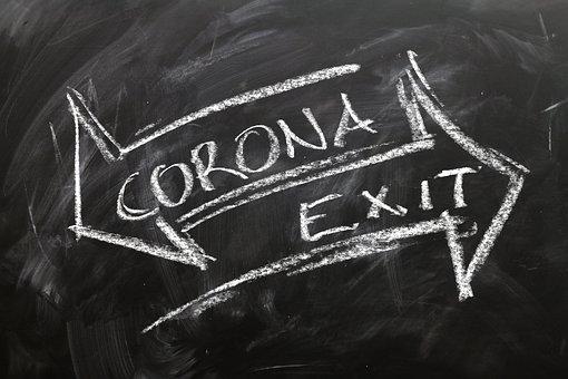Corona, Covid-19, Uitgang, Pijlen