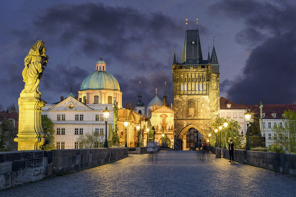 Charles Bridge, Prague, Twilight, City, Architecture