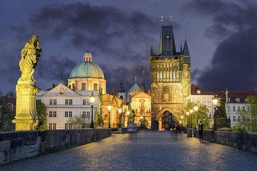 Pont Charles, Prague, Crépuscule, Ville