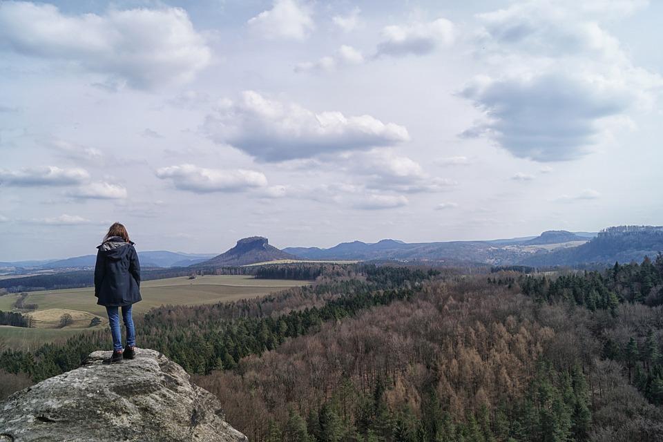 Hiking, Wanderer, Saxon Switzerland, Bears Stone