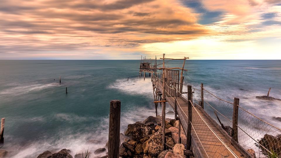 Overflow, Sea, Abruzzo, Sky, Trabocchi, Fishing