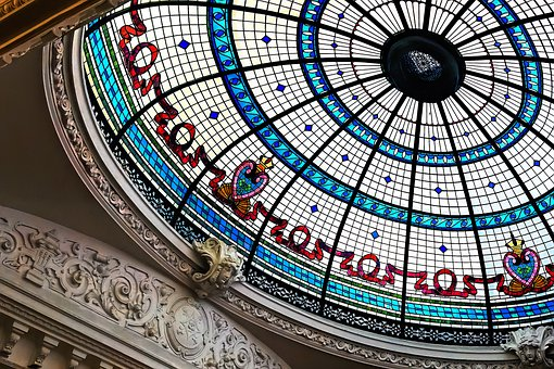Ceiling, Dome, Glass, Stained Glass