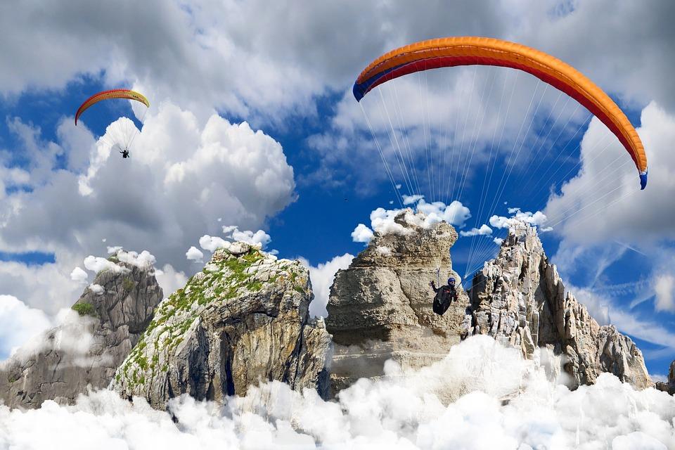 背景, スポーツ, 山, 自然, パラグライディング, 飛行, パラシュート, 雲, アドベンチャー, 高さ
