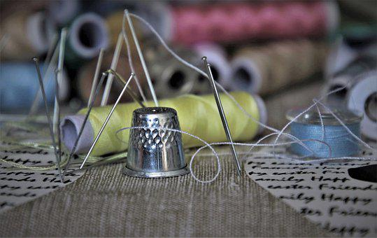 Thread, Colorful, Thimble, Pins, Needle
