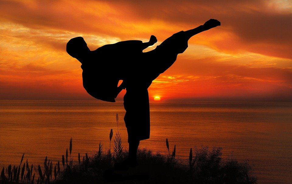 日没, スポーツ, 空手, 競争, コーチング, シルエット, 人, の活動, ヤング, 自然, オーシャン