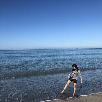 Beach, Water, Nature, Tiptoe, Ocean, Sea
