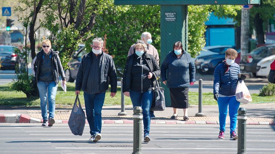 Ludzie, Człowiek, Nosić, Maski, Ochrona, Wirusy, Przez