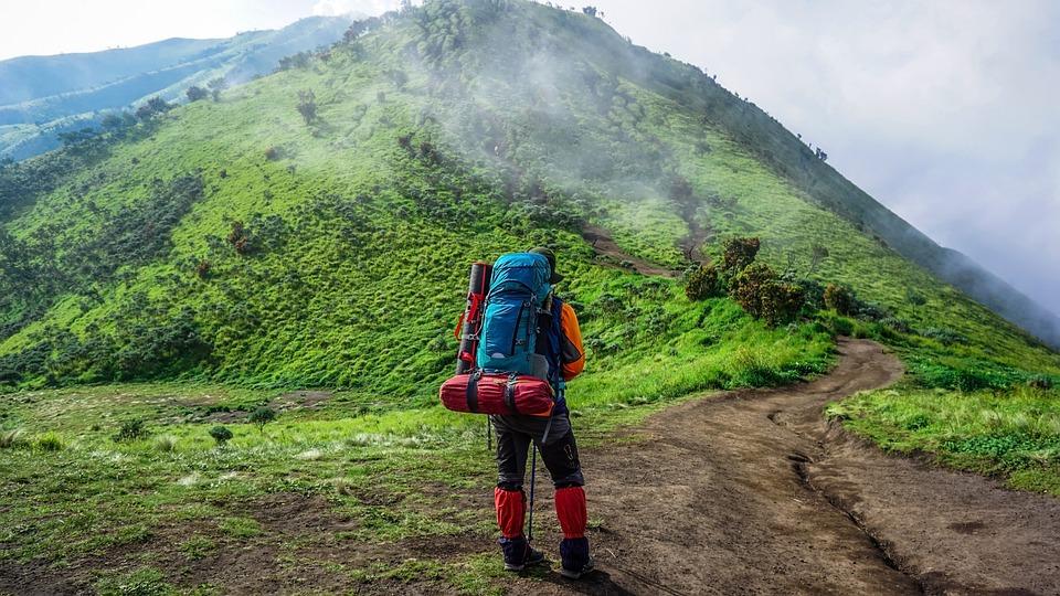 アドベンチャー, アジア, 背景, バックパックを背負ってください, 美しい, ブラウン, クラウド, 噴火