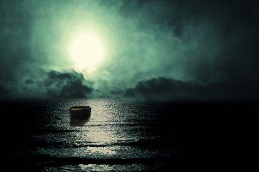 Landscape, Sea, Night, Reflection, Moon