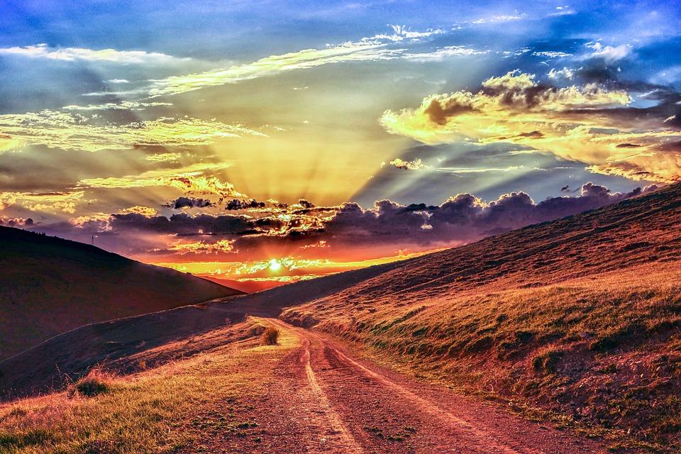 雲, 雰囲気, 素晴らしい, 美しい, 自然生活, 空, 天国, 光, 夕方には, 日没, 晴れた日, 太陽