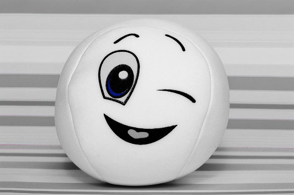 Zwinkern smileys schwarz weiß Waage Emoji