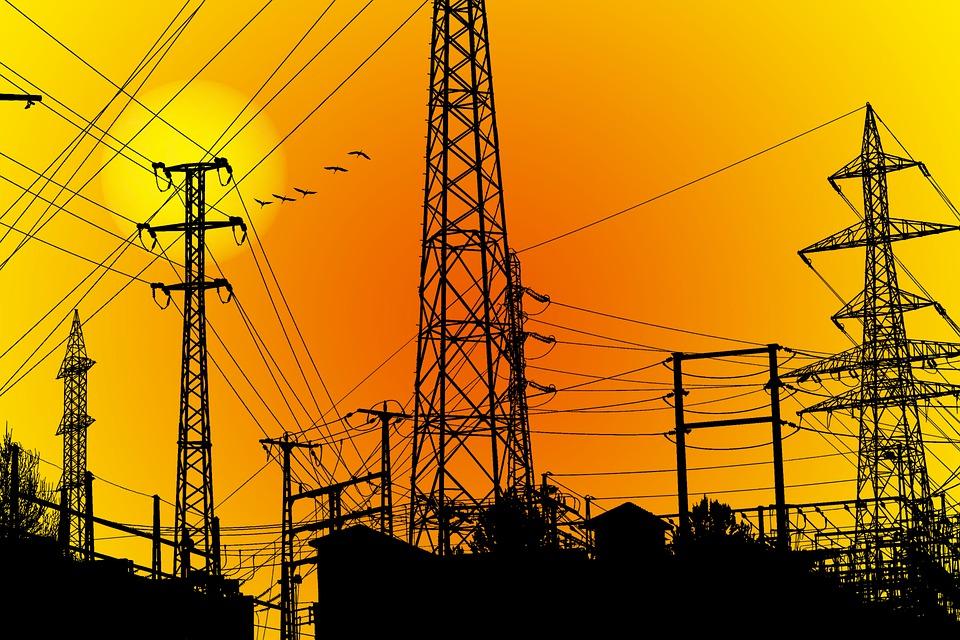 電気, 電気エネルギー, 力, 技術, 危険, ダウンロード, 接続, 日没