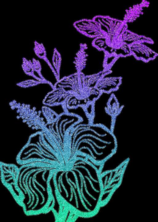 Flower Line Art, Silhouette, Glitter, Flower, Scroll