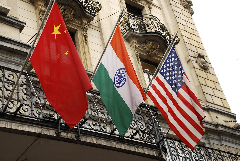Flags, China, India, Usa