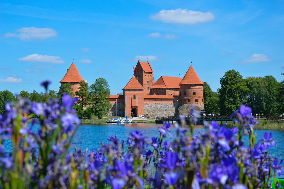 Castle, Flowers, Water, Lake, Trakai, Lithuania