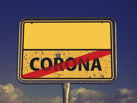 コロナ, Covid-19, 出口, 町に署名, 地名標識, 終了, 矢印