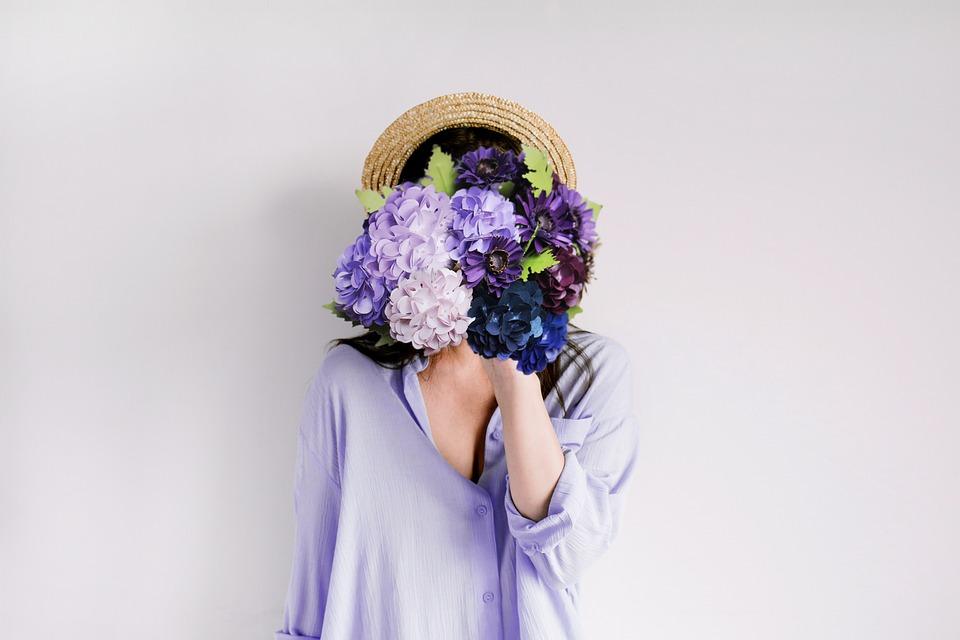 アジサイ, 紙, 花, 紫, ロマンチック, 紙の花, クラフト, 女性, 保持, 若いです, ライフスタイル