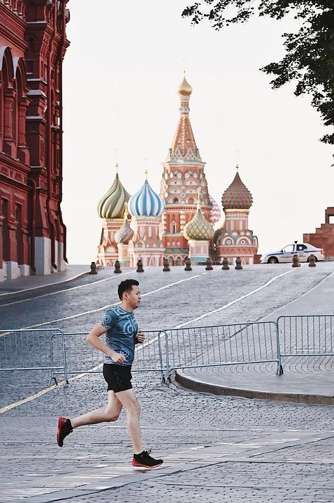 Mann, Laufen, Moskau, Der Kreml, Sonnenuntergang, Stadt